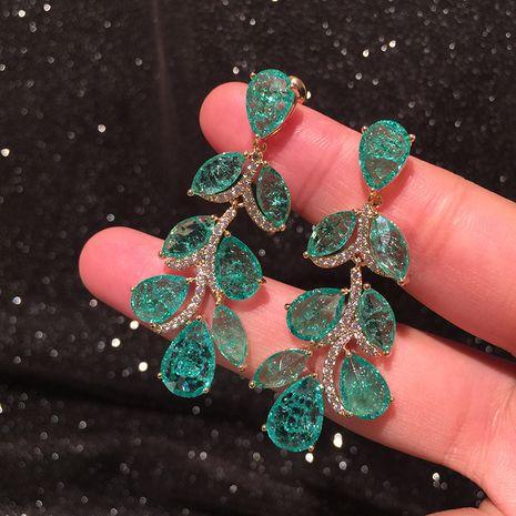 Boucles d'oreilles feuille verte longue lumière luxe super flash fée longue gland exagéré boucles d'oreilles vertes fraîches d'été en gros NHWK217541's discount tags