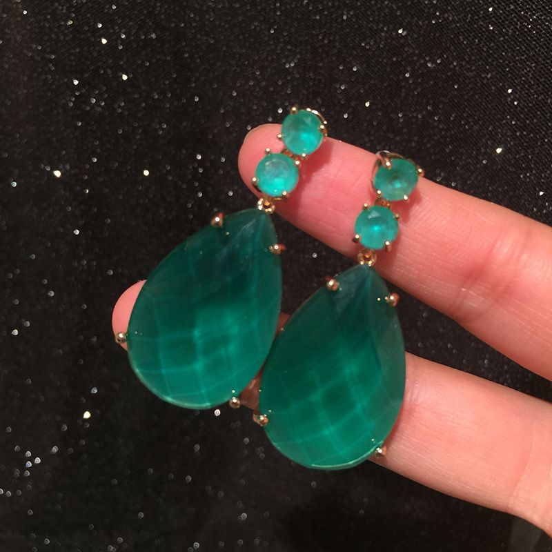 Green water drop earrings light luxury atmosphere exaggerated personality tide people 925 silver needle retro super fairy big earrings NHWK217542