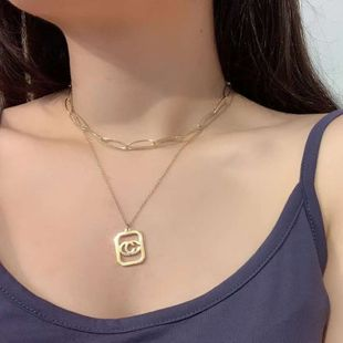 Double c gold necklace female fading hypoallergenic multi-layer letter pendant chain titanium steel clavicle chain wholesale NHWK217547's discount tags