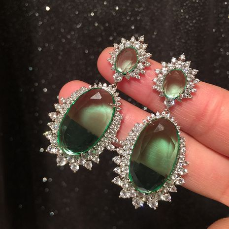 Green Tourmaline Earrings Luxury Atmosphere Super Flashy S925 Silver Post Exaggerated Large Earrings Trendy Earring NHWK217551's discount tags