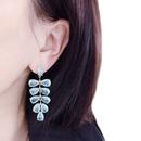 Green leaf earrings long tassel super fairy personality exaggerated crack design S925 silver needle earrings  NHWK217554