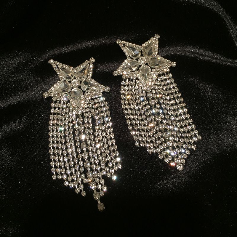 Star tassel earrings long super fairy full diamond exaggerated super flash fivepointed star earrings wholesale NHWK217560