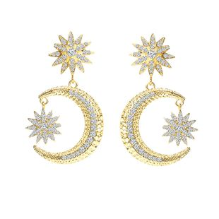 new style earrings personality simple small sun big moon ladies inlaid diamonds exaggerated earrings wholesale NHMO217573's discount tags