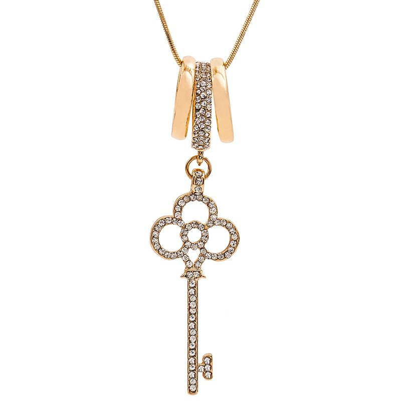 new necklace fashion temperament key necklace hollow diamond long sweater chain necklace wholesale NHMO217575