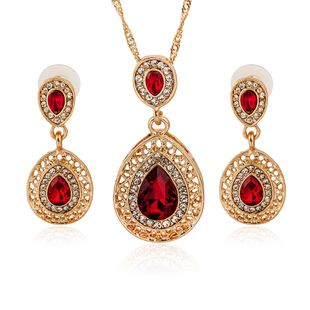 new earrings necklace suit combination crystal earrings water drop models pendant jewelry set wholesale NHMO217577's discount tags