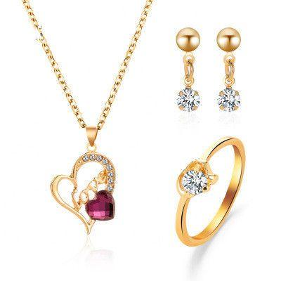 nouveaux bijoux trois pièces costume mode tendance bijoux amour collier boucle d'oreille bague costume en gros NHMO217578's discount tags