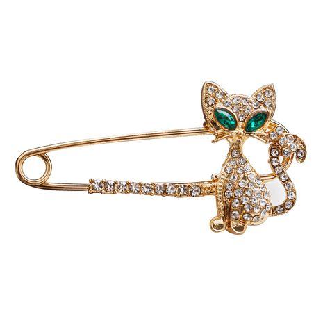 Broche nuevo estilo personalidad gatito con incrustaciones de diamantes broche de brillo todo el rhinestone austriaco broche de zorro bicolor NHMO217581's discount tags