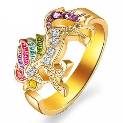 nouvelle bague tempérament bague licorne couleur poney ouverture bague réglable femmes diamant incrusté de bijoux NHMO217589's discount tags