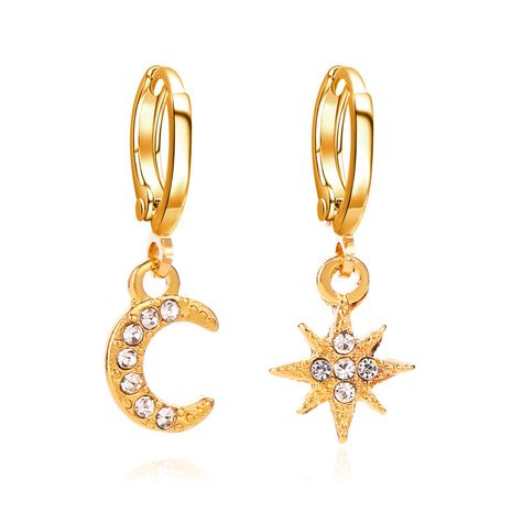 nouveau style boucles d'oreilles asymétrie étoiles lune boucles d'oreilles mode diamant-set boucles d'oreilles cuivre boucles d'oreilles femmes NHMO217600's discount tags