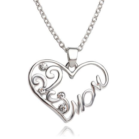 explosion of funds in hot fashion simple mom heart-shaped strand empty mother's day gift necklace accessories wholesale NHMO217607's discount tags