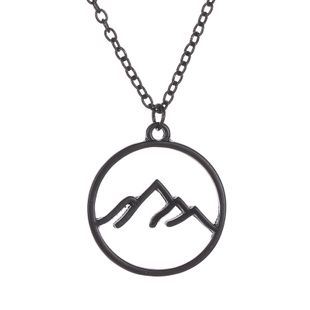 Necklace Round Hollow Necklace Pendant Fashion Mountain Folded Mountain Geometric Hollow Necklace NHMO217611's discount tags