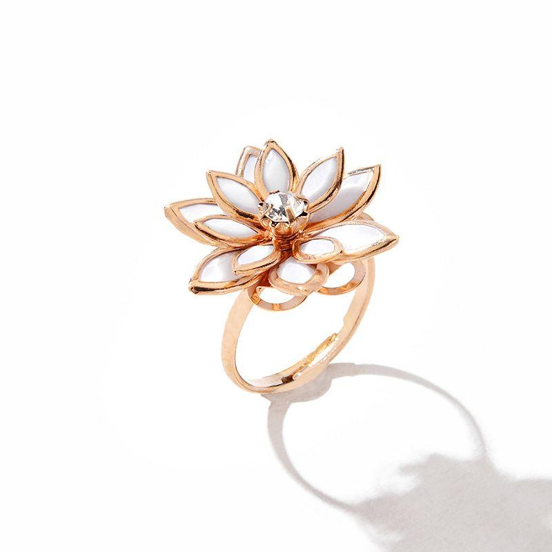 hot flower ring nihaojewelry wholesale sweet snow lotus ring ladies fashion white multi-layer camellia ring flower ring NHMO217615