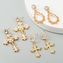 style fashion long earrings ladies alloy diamond pearl earrings creative exaggerated cross earrings wholesale NHLN217621