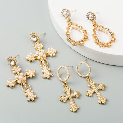 style de mode boucles d'oreilles longues dames alliage diamant boucles d'oreilles perles créatives exagérées boucles d'oreilles croix en gros NHLN217621's discount tags