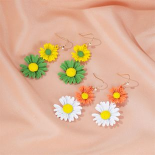 Korean fashion  new daisy earrings summer two-color daisy earrings temperament long flower earrings NHDP217328's discount tags