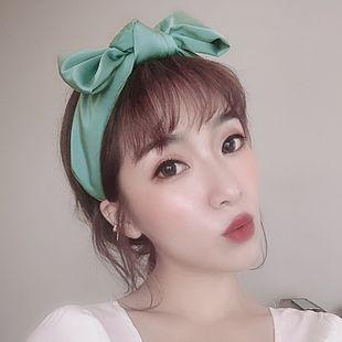 Korean fashion bow satin headband simple solid color wide edge headband fashion wild hair hole hair accessories NHSM217402's discount tags