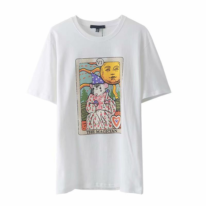 summer  fashion new sun mouse fun printing women's short-sleeved T-shirt nihaojewelry wholesale NHAM217659