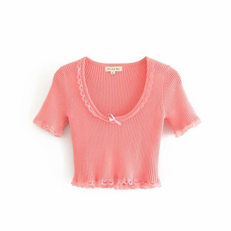 summer fashion sexy  new pink high elastic knitted lace short-sleeved T-shirt small top nihaojewelry wholesale NHAM217660