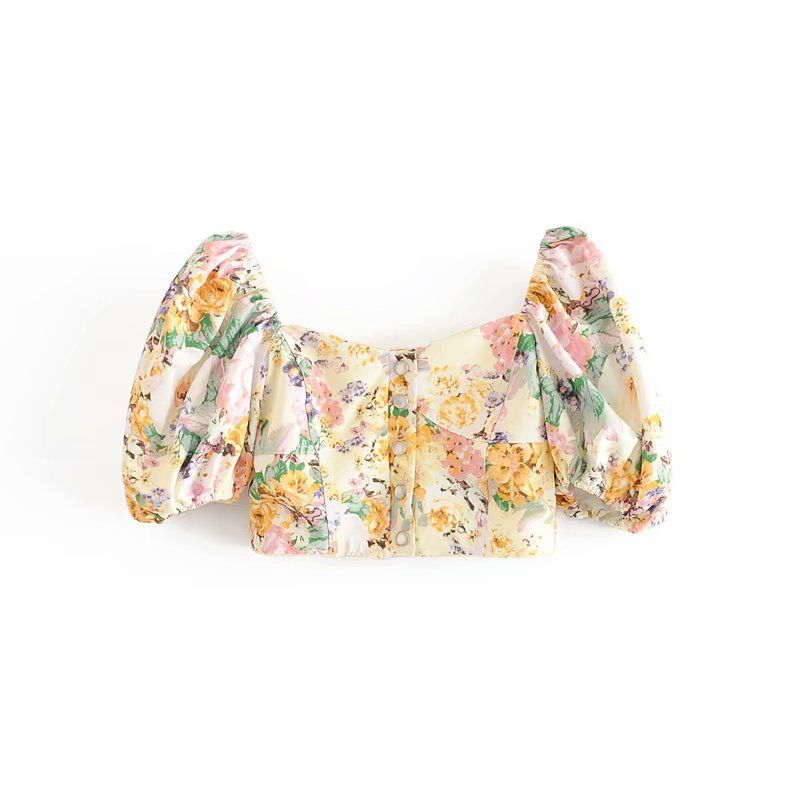 summer fashion new  retro square collar bubble sleeves were thin floral print short coat nihaojewelry  wholesale NHAM217666