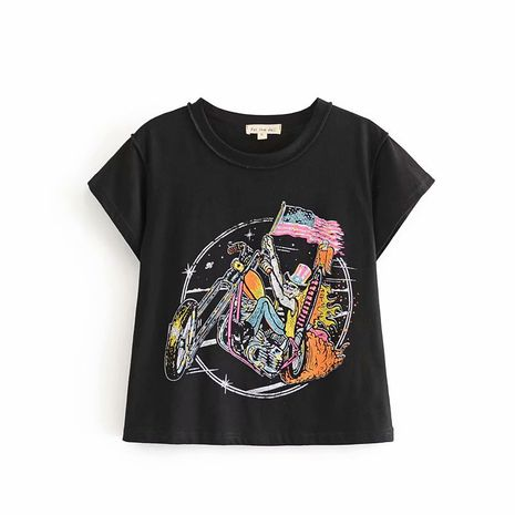 summer new simple black  double-sided printing skull skull riding motorcycle T-shirt nihaojewelry wholesale NHAM217668's discount tags
