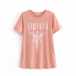 summer simple  New Pink Phoenix Nirvana Print pink  T-shirt nihaojewelry wholesale NHAM217669's discount tags