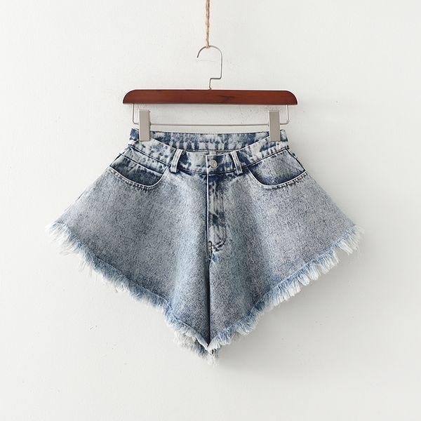 nihaojewelry wholesale  summer fashion sexy raw edge large flared harem skirt women's denim shorts  NHAM217672