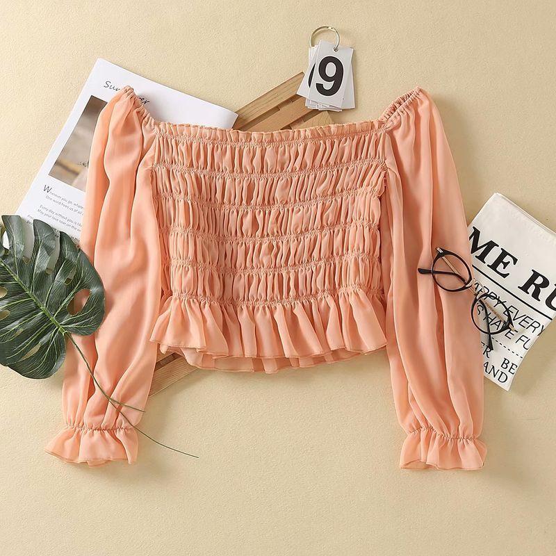 summer fashion new  elastic design short section exposed navel chiffon shoulder folds  shirt nihaojewelry wholesale NHAM217682