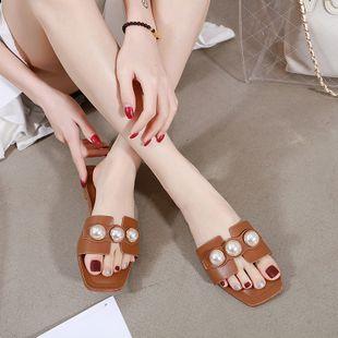 Moda de verano nuevas zapatillas wild square head perlas de fondo plano palabra arrastre zapatos de mujer de gran tamaño nihaojewelry al por mayor NHHU217705's discount tags