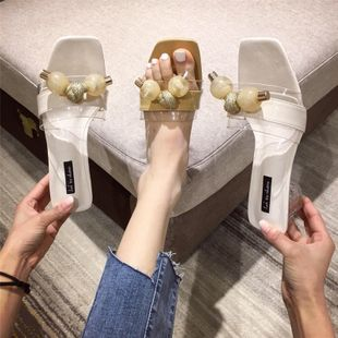 fashion simple Crystal thick heel slippers summer fairy style open toe middle heel  shoes beaded outer wear sandals and slippers wholesale NHHU217710's discount tags