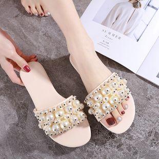 Zapatillas de perlas de arrastre planas de nuevo estilo coreano de verano zapatos de mujer de talla grande casuales diarios al por mayor NHHU217713's discount tags