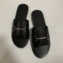 Summer  simple black  leisure wild word drag metal buckle flat bottom open toe slippers  large size womens shoes nihaojewelry wholesale NHHU217714