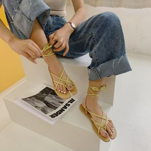 Summer Split Toe Roman Strap Women's Sandals Fashion Personalized Clip Toe Flat Women's Shoes nihaojewelry wholesale NHHU217732's discount tags