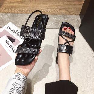 Korean summer new fashion black  snake pattern women's shoes flat bottom  sandals nihaojewelry wholesale NHHU217733's discount tags