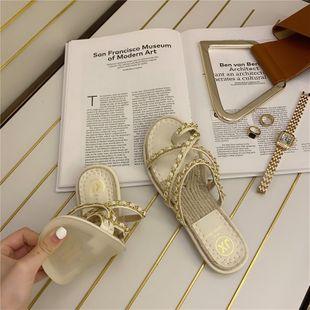 Korean  fashion new wild chain decoration flat drag straw fisherman slippers  nihaojewelry wholesale NHHU217735's discount tags