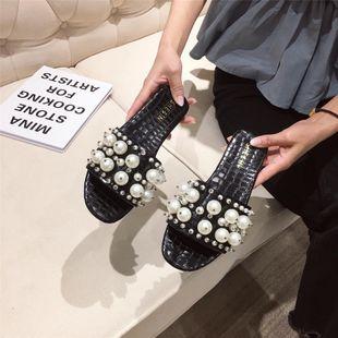 Summer  fashion  new style stone pattern beaded open toe flat slippers plus size women's shoes  nihaojewelry wholesale NHHU217741's discount tags