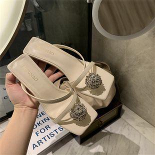 summer new high heel clip toe rhinestone fashion sandals wear wild mules nihaojewelry wholesale NHHU217783's discount tags