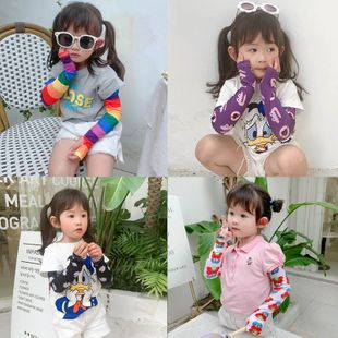 Children's ice silk sleeves boys and girls sunscreen cute dazzling elegant style gloves UV protection long ice sleeve nihaojewelry wholesale NHTZ217842's discount tags