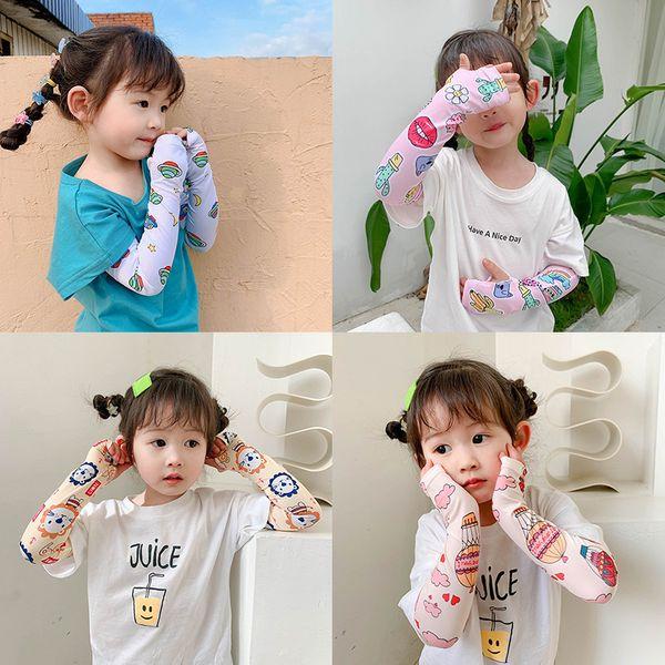 Children's wild summer icy sunscreen ice silk cute printing sleeves thin long ice silk sleeve arm guard sleeve wholesale nihaojewelry NHTZ217846