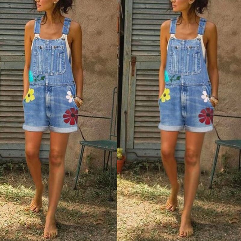 hot selling fashion simple style  denim overalls  printing loose and thin wash denim overalls shorts nihaojewelry wholesale NHYF217855