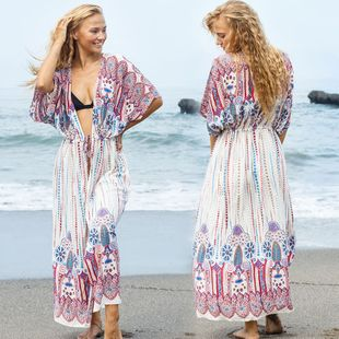 summer fashion Bohemia style  cotton two ends positioning flower pumping cardigan beach skirt bikini blouse swimsuit outside cardigan sun protection clothing NHXW217863's discount tags