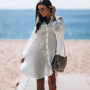 New  fashion solid white  Shirt Cardigan Beach Jacket Bikini Blouse Holiday Swimsuit Outdoor Sunscreen Clothing nihaojewelry wholesale NHXW217865's discount tags