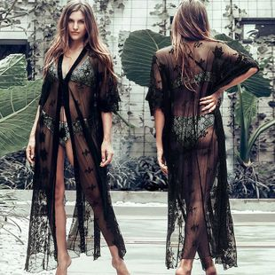New Black Lace Cardigan Sexy Lace Sunscreen Loose Vacation Beach Swimsuit Outside Bikini Blouse nihaojewelry wholesale NHXW217866's discount tags