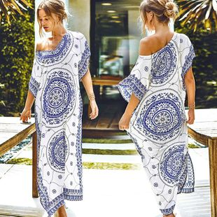 summer fashion  new blue  cotton  printing long loose robes bikini blouse beach long skirt dress nihaojewelry wholesale NHXW217867's discount tags