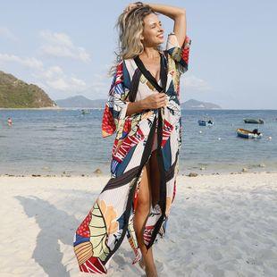 summer fashion simple large leaf flower cardigan leaf loose sunscreen beach blouse bikini jacket swimsuit outside cardigan nihaojewelry wholesale NHXW217869's discount tags