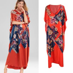 summer fashion  new simulation silk red  robe loose dress vacation beach long skirt swimsuit outside smock nihaojewelry wholesale NHXW217871's discount tags