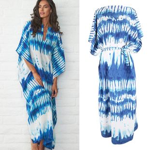 fashion summer simple new blooming sapphire blue and white robe beach sunscreen suit swimsuit  holiday dress nihaojewelry wholesale NHXW217873's discount tags