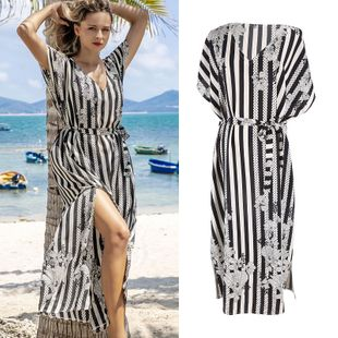 New  fashion summer silk wrinkled black and white striped flowers beach skirt holiday robe bikini blouse sunscreen shirt female dress nihaojewelry wholesale NHXW217876's discount tags