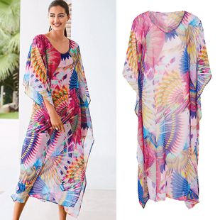 summer hot sale  new chiffon colorful robe loose jumpsuit long skirt beach sunscreen clothing swimsuit bikini outside smock nihaojewelry wholesale NHXW217879's discount tags