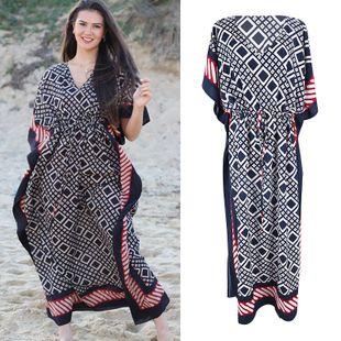 summer fashion new  diamond lattice robe loose large size beach skirt vacation sunscreen dress bikini swimsuit smock  nihaojewelry wholesale NHXW217880's discount tags