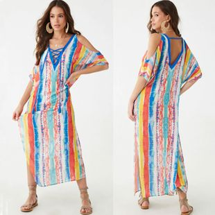 summer fashion  new multicolor stripes  printed beach blouse holiday long skirt bikini swimsuit outer blouse sunscreen shirt wholesale NHXW217882's discount tags